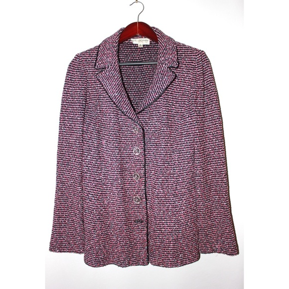 St. John Jackets & Blazers - St. John Pink&Black Tweed Knit With Lucite Buttons